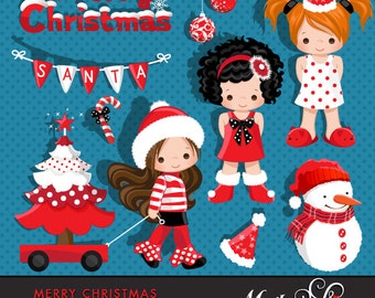 Merry Christmas Girls Clipart Instant Download Christmas Graphics