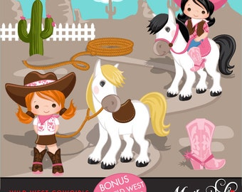 Cowgirl Clipart- Pink & Brown, Western Graphics, cowgirl characters, pink cowgirl boots, lasso, wild west, sheriff, cowgirl hat, commercial