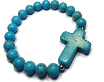 Southwest - Turquoise Blue Bracelet - Howlite Stretch Stacking Bracelet with Gemstone Cross - Mishimon Designs