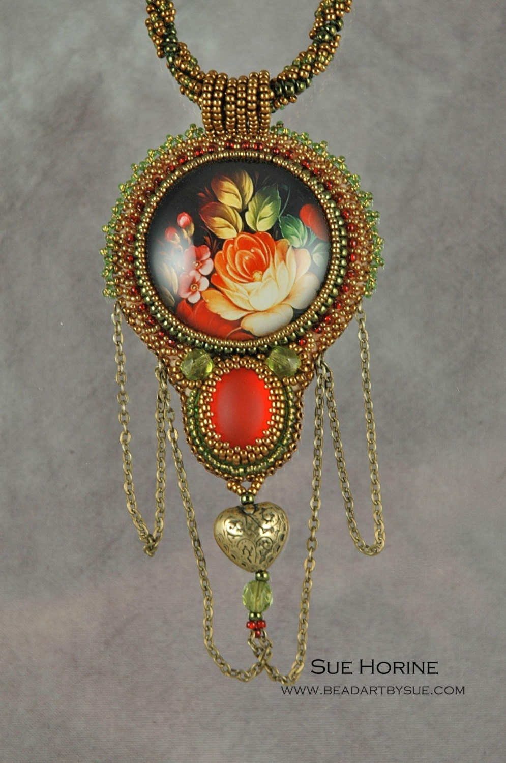 Russian rose glass with red luna soft cabochon bead by