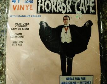 Vintage NIP 1970s Black Vinyl Horror Cape by Toymark