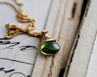 Peridot Birthstone Necklace Gold August Green Pendant