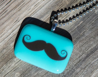 Fused Glass Pendant - Mustache - aqua