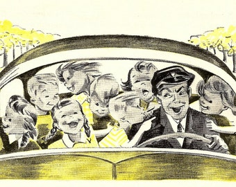 Car Print - 1953 Vintage Children's Story A Day Magazine - Auto Print - Taxi Cab Print - Winnifred Farnum - Mike The Taxi Man - Story Art