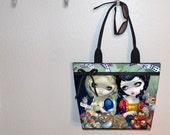 Alice & Snow White Jasmine Becket Griffith tote bag, book bag, large purse canvas tote, gym bag, beach bag, Alice in Wonderland shoulder bag