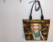 Alice in Clockwork Steampunk Jasmine Becket Griffith tote bag, book tote, large purse, canvas tote, shoulder bag