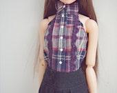 plaid top and black skirt for momoko blythe doll