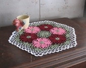 Crochet Doily with Spring Flowers in Pink and Burgundy - Six Sided Hexagon