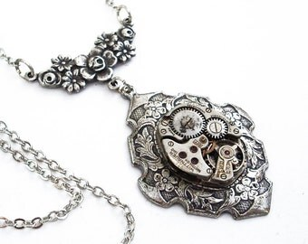 Time Enough - Silver and Steel Steampunk Necklace
