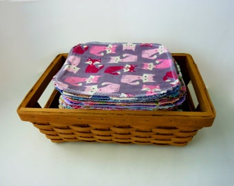Girls Cloth Wipes - 15 Neutral Modern Medium Double Layer Flannel Wipes - Family Cloth Wipes - Reusable Toilet Paper - Choose Your Design