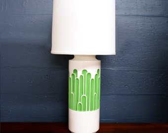 Mid Century Mod Large Green & White Table Lamp Sale Free Shippng