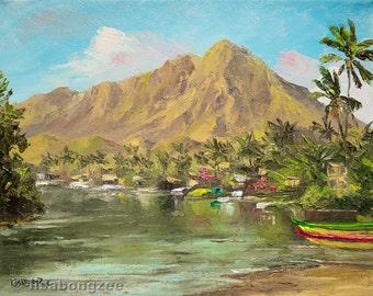 KAELEPULU STREAM KAILUA Framed Original Oil Painting 8x10 Art Tropical Canal Hawaii Hawaiian Palm Tree Koolau Beach Island Ocean Lanikai