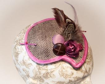 Steampink. Brown Tweed and Pink Fascinator.