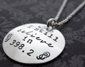 I Still Believe in 398.2 Necklace in Sterling Silver - Hand Stamped Charm Necklace - Literary Gifts - Geekery
