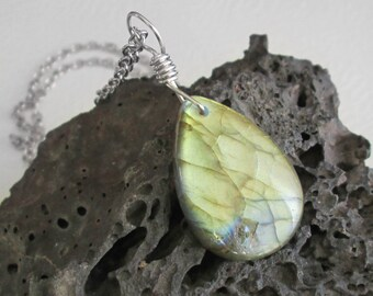 Gold Labradorite Pendant, Natural Stone Jewelry, Teardrop Rock Necklace