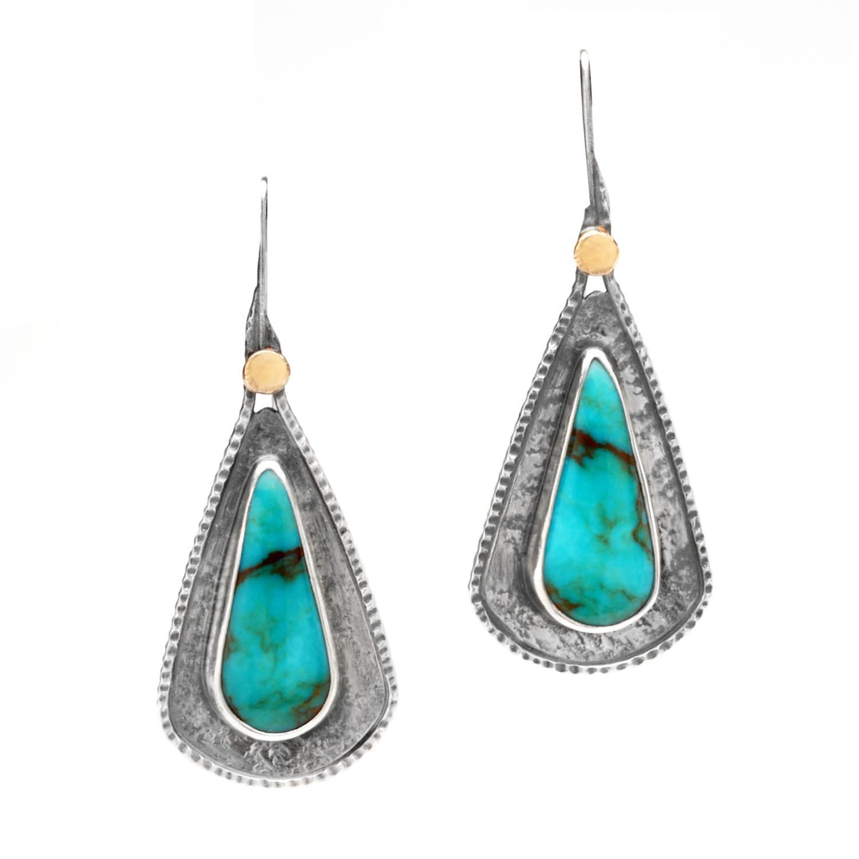 tear drop turquoise sterling silver 18k gold dangle earrings. Black Bedroom Furniture Sets. Home Design Ideas
