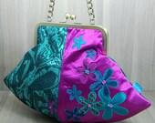Pod Evening Bag - Purse - Flowers - Metal Clip Frame - Kiss Lock Frame - Chain Handle - Magenta - Teal - Turquoise - Purple