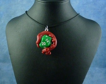 Burgundy and Green Sanity Check Necklace - Tentacle Wrapped D20 Pendant
