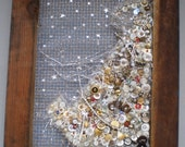 Starry Night Half Tree in Buttons, Beads From Reclaimed Wood Frame Window