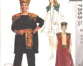 McCalls 7353 Misses Vest Top Pants Skirt Sash Kofi Hat Pattern Daphene Womens Sewing Size 8 10 12 Bst 31 32 34 OR 20 22 24 Or 10 12 14 UNCUT