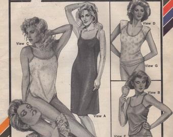 Stretch & Sew 2072 Misses Lingerie Pattern Panties Teddy Camisole Full Slip Undergarments Womens Vintage  Sewing Pattern Bust 30 - 46 UNCUT