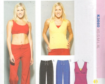 Kwik Sew 3660  Misses Sports Bra Empire V Neck Top and Pants Pattern Womens Easy Sewing Pattern Size XS  S M L XL Bust 31 - 45 UNCUT