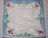 Vintage Hankie DOW Little Girl Goes to Church on Sunday