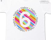 Birthday girl shirt rainbow stripes girl birthday party personalized t-shirt
