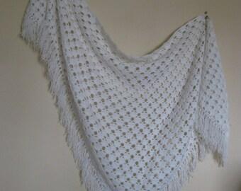 Vintage Hand Crocheted Shawl Prairie Bride Handmade Triangle