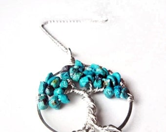 Turquoise Tree of Life Pendant Necklace - Sterling Silver - Mother, Grandmother, children, family heirloom