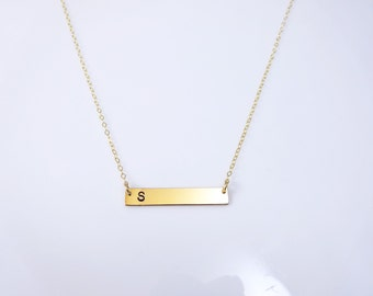 Personalized Gold Bar necklace, gold bar charm with stamped initial, 14k gold fill, minimal gold layering necklace, modern, Bridesmaid gift