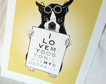Eye Love Bostons - Eco-Friendly 7x9 Print
