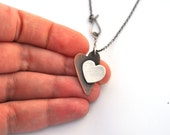 Two Tone Necklace, Copper and Silver Doodle Heart Necklace with Sterling Silver Chain and Handmade Silver Clasp, Mixed Metal Jewelry
