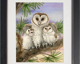 Owl Tree with Barn Owls- archival watercolor print by Tracy Lizotte