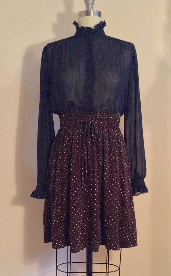brown polka dot high waisted skirt strech by