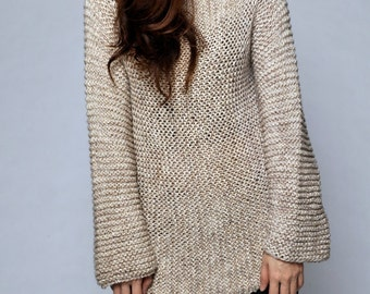 Hand knit sweater - Eco cotton long sweater in wheat