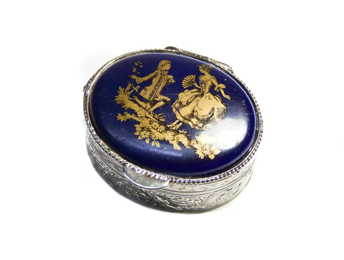 Vintage Pill Box Limoges Fragonard Gilded Silver Cobalt