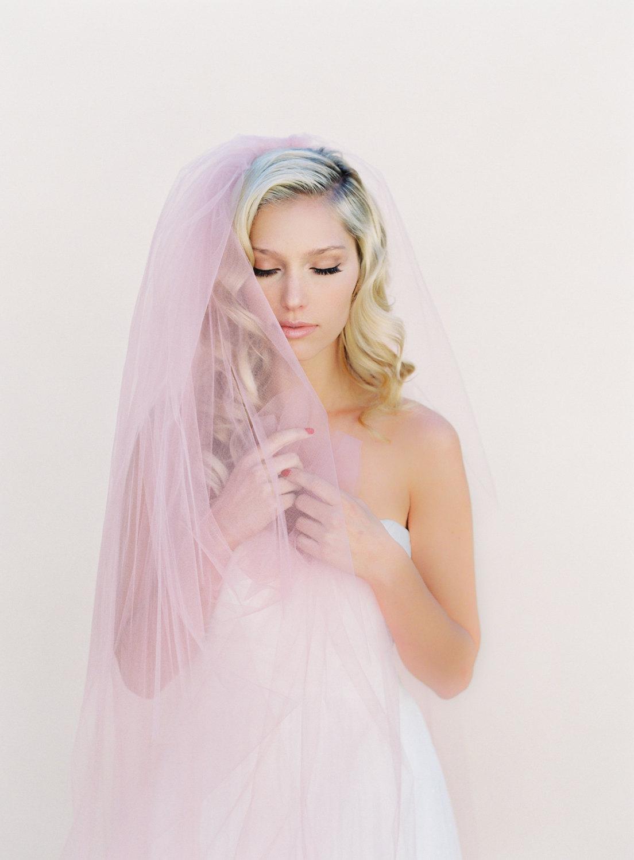 Blush Veil Blush Pink Veil Simple Wedding Veil 2 Layer