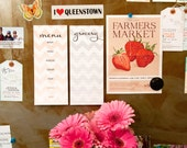 Magnetic Fridge Notepad Set - Chevron Grocery List and Weekly Menu Planner
