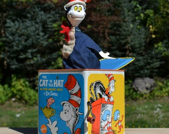 1970 Dr. Suess Cat in the Hat Jack-in-the-Box