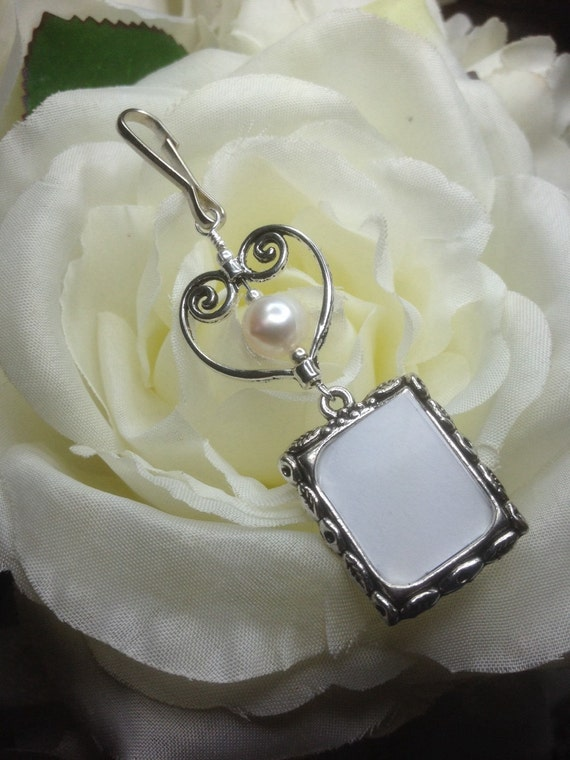 wedding bouquet photo charm memorial photo charm with pearl and heart