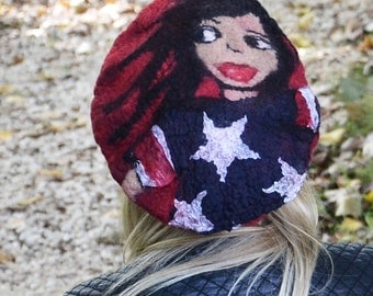 Unique handmade felt hats Felt Hat Felted Hat Felted wool hats Womens winter hats Felt Hat for women felt beret French beret american flag