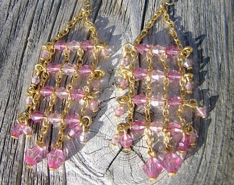Gold and Crystal Drops Romance Chandelier Earrings Renaissance Elegance