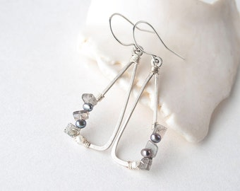 Sterling silver triangle earrings - Labradorite earrings - pearl gemstone earrings - something blue for bride - Easter Jewelry