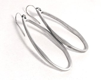 Large hoop earrings - upcycled jewelry - teardrop hoop earrings - minimal jewelry - aluminum earrings