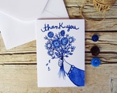 Thank you card & envelope, floral illustrated greeting card
