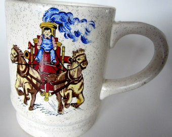 FIREMAN Coffee Cup Mug Fathers Day Gift Japan Stoneware Antique Collectible Design