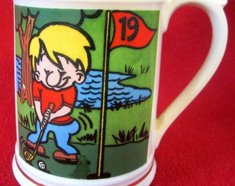 Vintage Enesco GOLF 19th Hole Collectible Mug Cup Golfing Gift