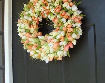 Custom Tulip Spring Wreath- Spring Decor- Spring Tulip Wreath, Custom Sizes- Summer Wreath- The ORIGINAL Tulip Wreath