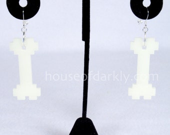 Glow-in-the-dark 8-bit Bone acrylic earrings pixel style for the geeky goth